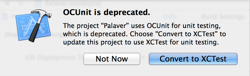 OCUnit is deprecated, Convert to XCTest